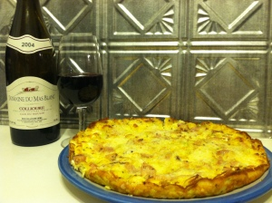 Domaine Mas Blanc 2004 Clos Du Moulin Collioure, and my ham and leek fritatta
